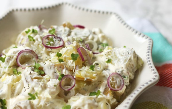 Lighter potato salad with crème fraîche and dill