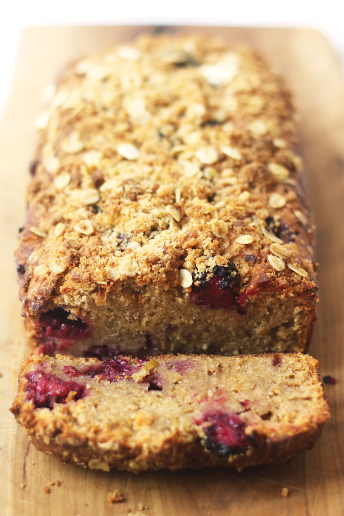 Inside my Apple and Blackberry Crumble Loaf Cake