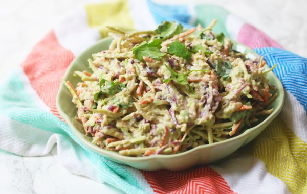 Mexican slaw made with carrot, coriander, red and white cabbage