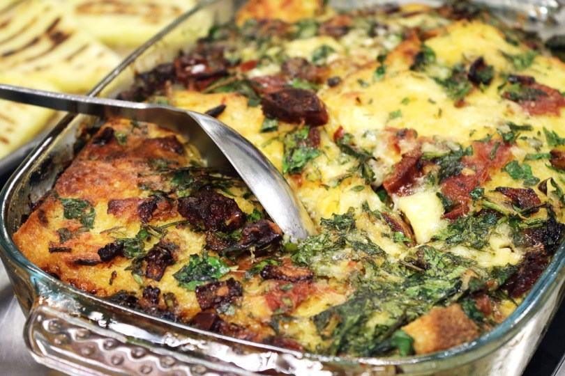 Savoury bread and butter pudding made using leftovers
