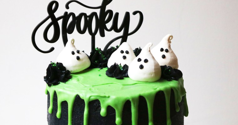 Ghoulish Coconut and Lime Slime Cake