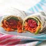 The inside of a Vegan Falafel and Hummus Wrap