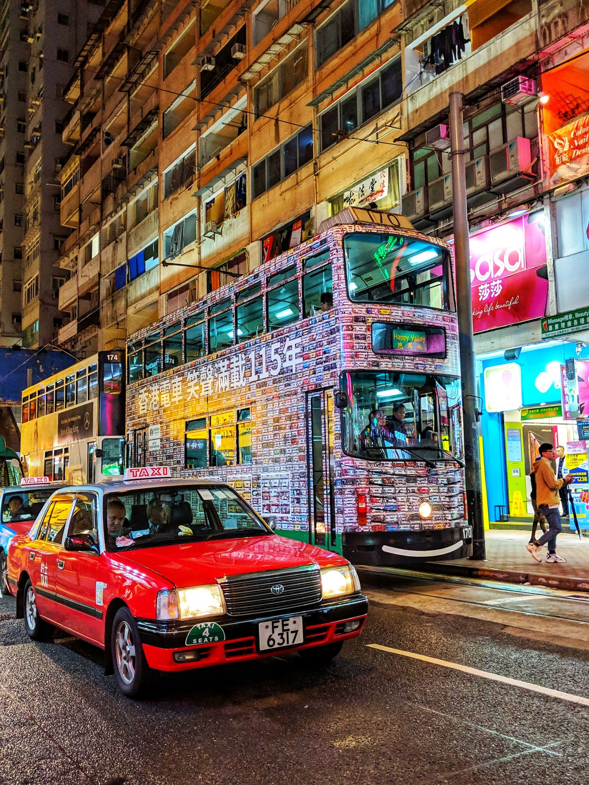 Taxi and tram in Hong Kong, China