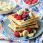 Sourdough waffles covered with berries