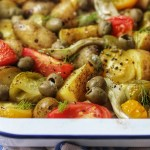 Roasted Fennel and Potatoes with Olives and Tomato