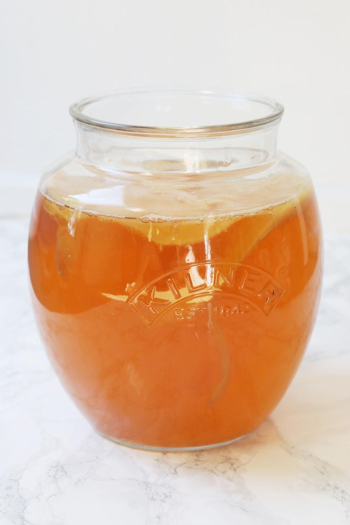 A jar of kombucha