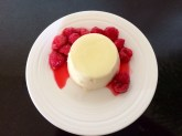 Elderflower pannacottas with raspberries