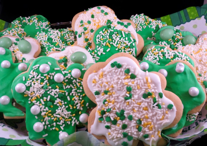 Cutout Shamrock Cookies with Royal Icing