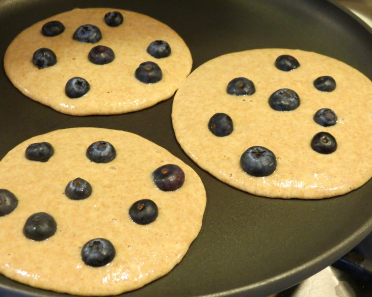 Blueberry Whole Wheat Pancakes First Pour of Batter