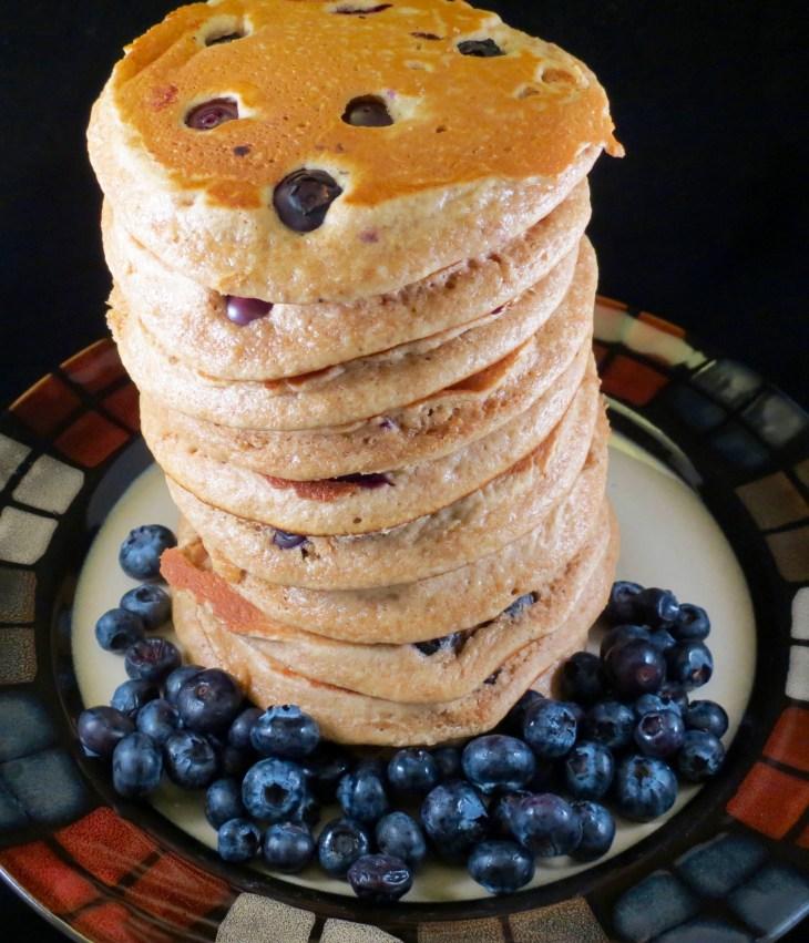 Blueberry Whole Wheat Pancakes Stacked