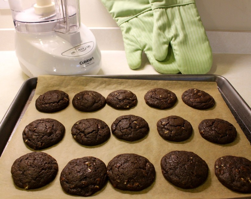 Chewy Chocolate Mint Cookies out of oven on a cookie pan