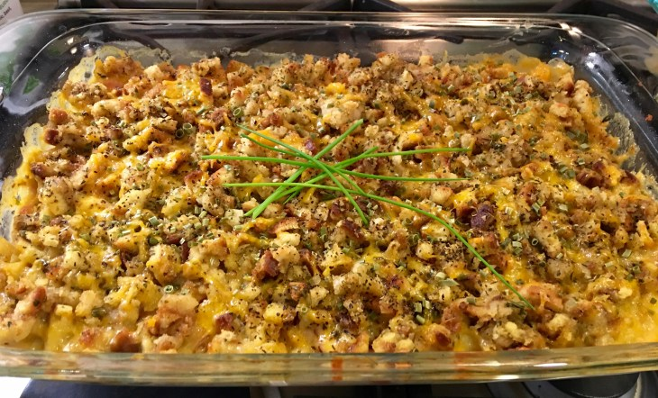Chicken Cordon Bleu Casserole with Stuffing out of the oven closeup
