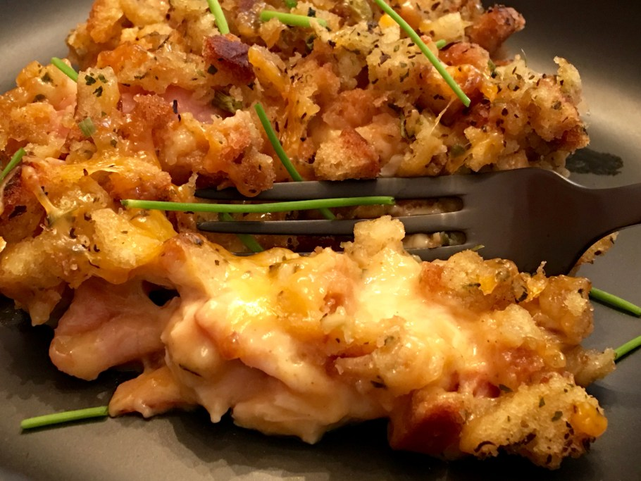 Chicken Cordon Bleu Casserole with Stuffing Plated Fork Tender