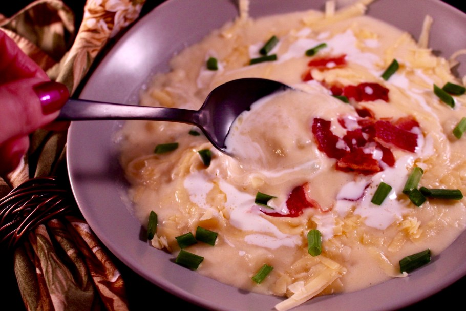 Spoonful of Easy Cheesy Potato Soup with Bacon