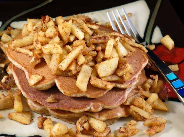 Apple Cinnamon Pancakes Served without syrup