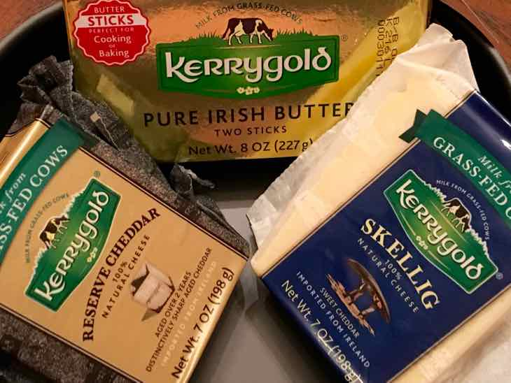 Kerrygold Irish Butter, Reserve Cheddar Cheese and Skellig cheese