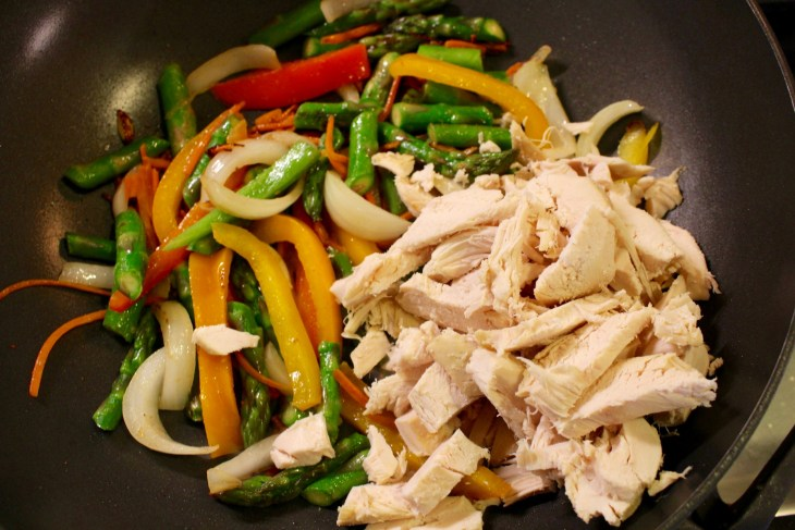Stir Fry in Wok with Veggies and Chicken