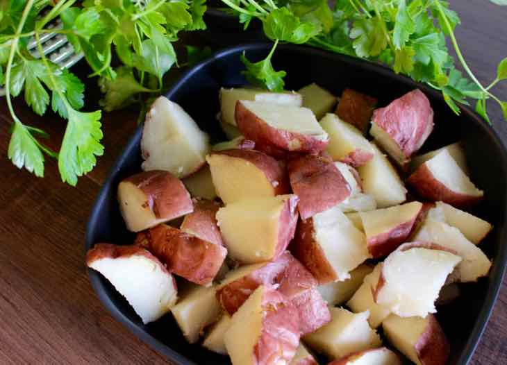 Buffalo Style Potatoes Baked and Cubed