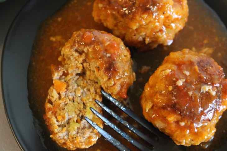 Buffalo Turkey Meatballs cut in half