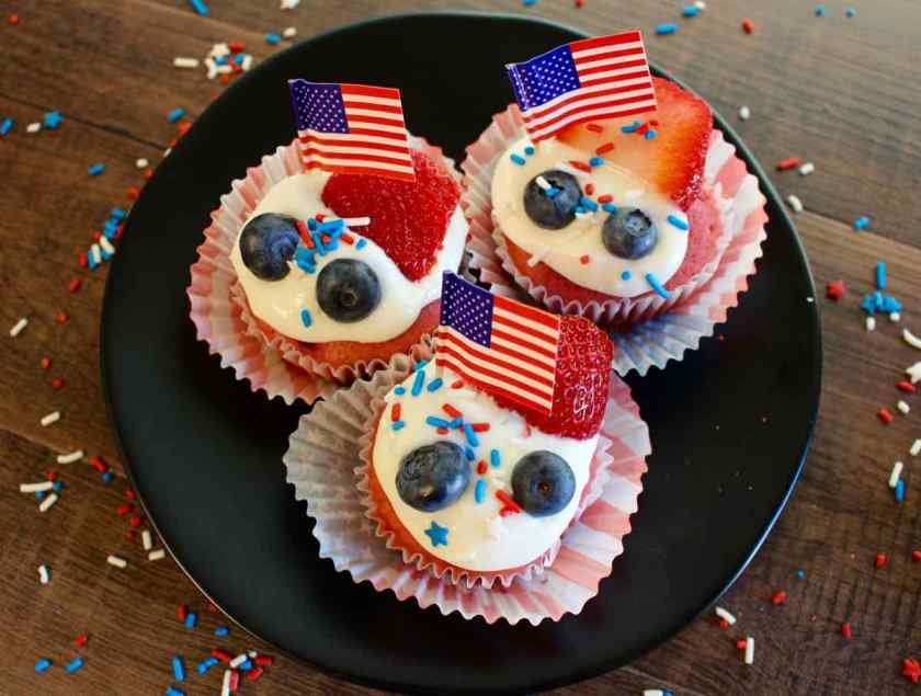 Strawberry Cupcakes Plated with American Flags