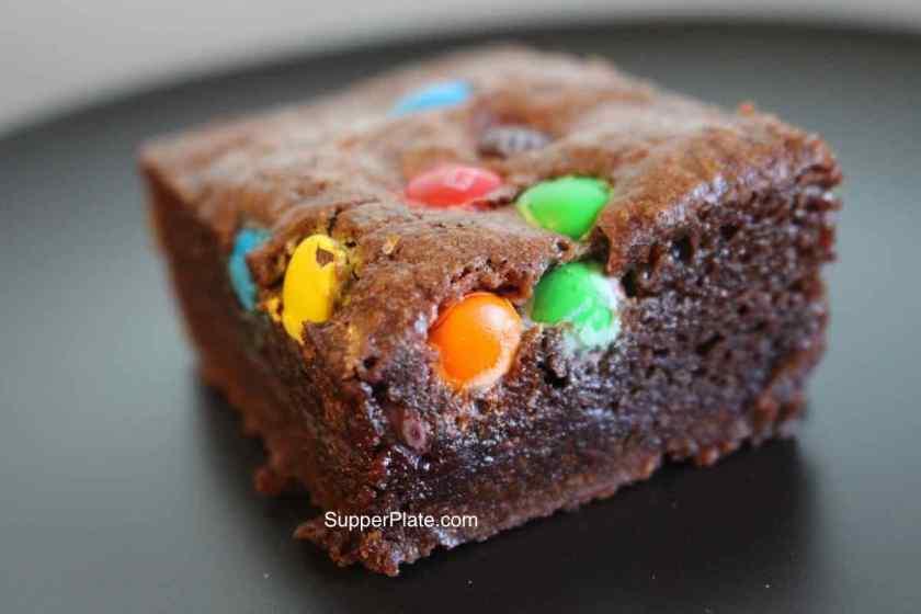 Ooey Gooey Brownies with mini M&Ms