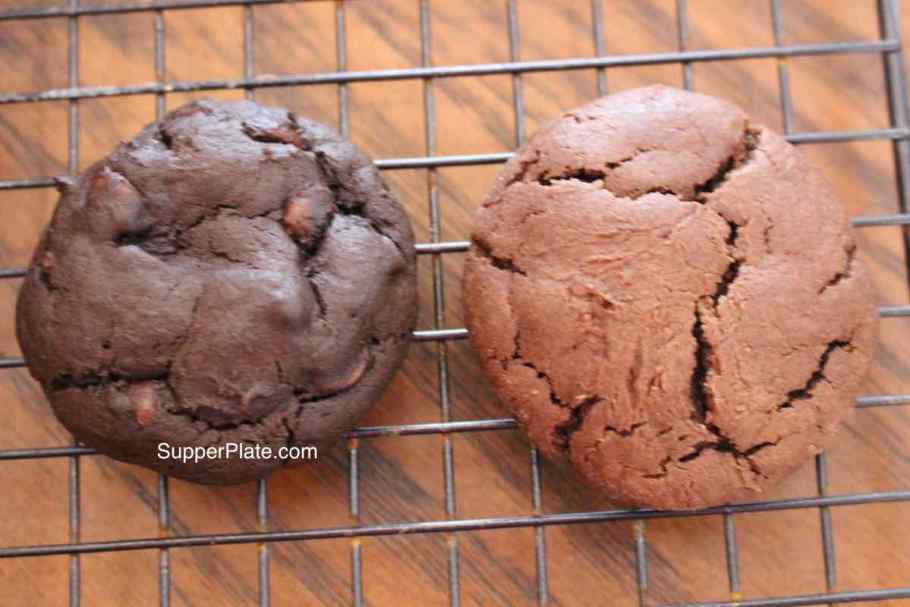 Double Chocolate Chip Cookies dark verus regular