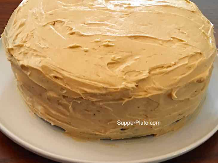 Fluffy Peanut Butter Frosting finished cake side view