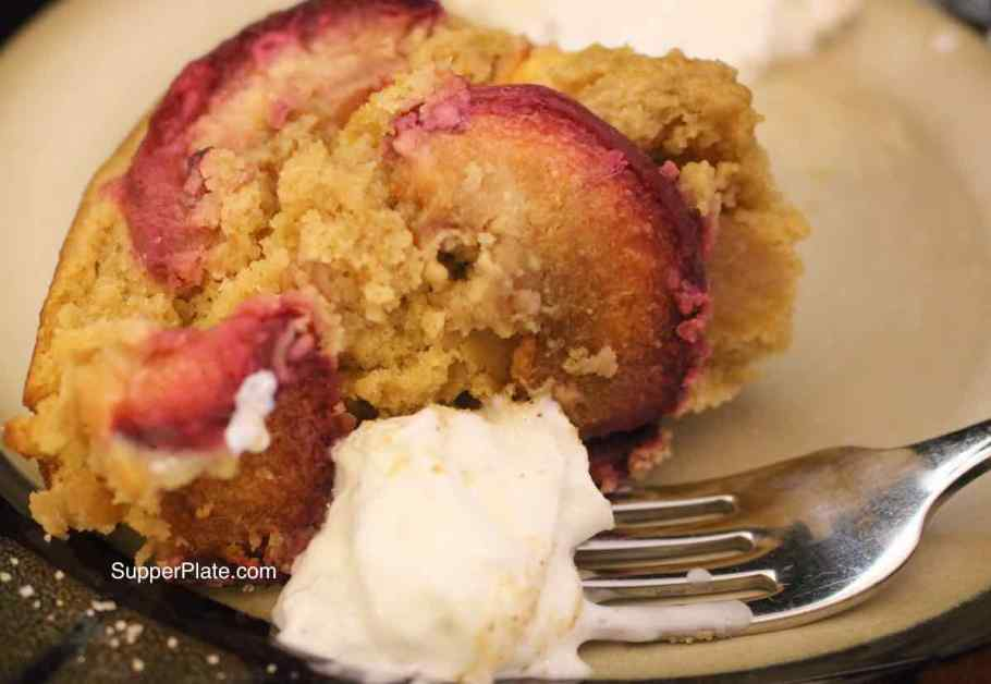 Nectarine Upside Down Cake with Whipped Cream