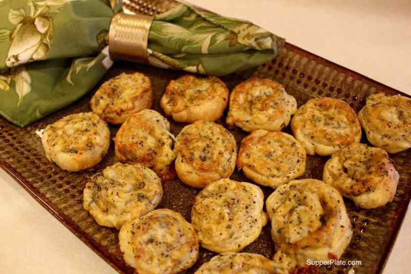 Cheese Pinwheels plated for serving