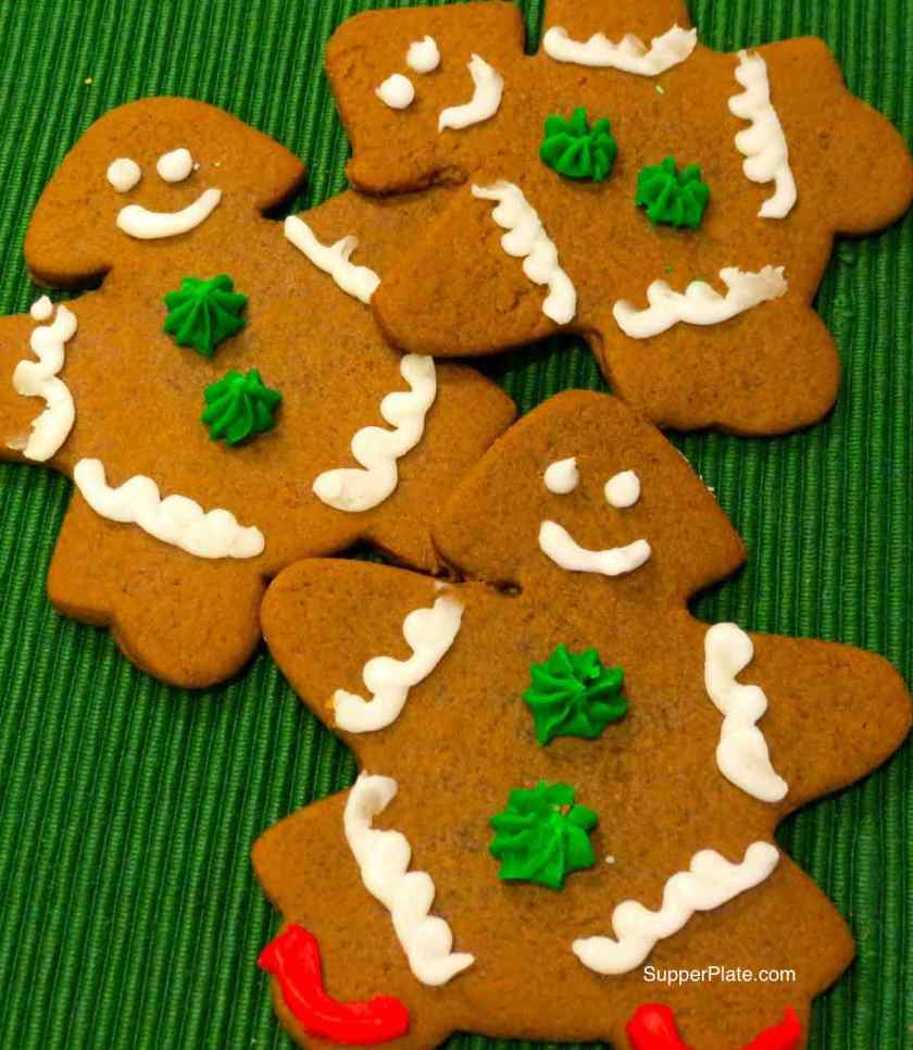 Close up of Gingerbread Cookies on a green placemat