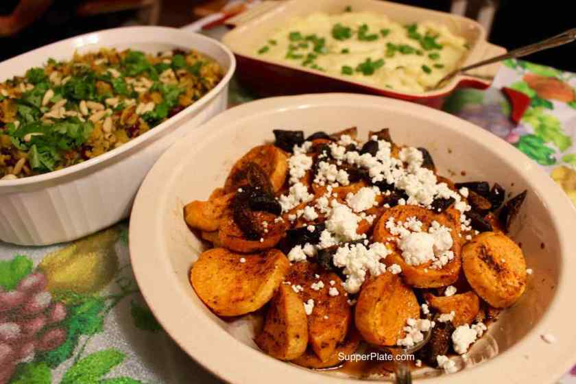Sweet Potatoes with Figs and Goat Cheese - plated Thanksgiving
