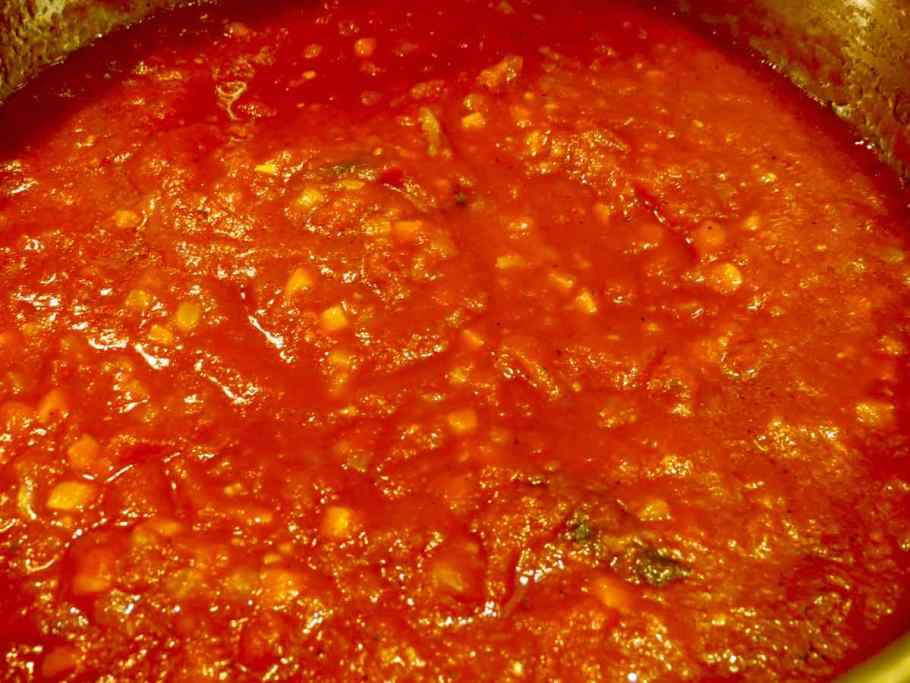 Tomato Orzo Soup Tomatoes simmering