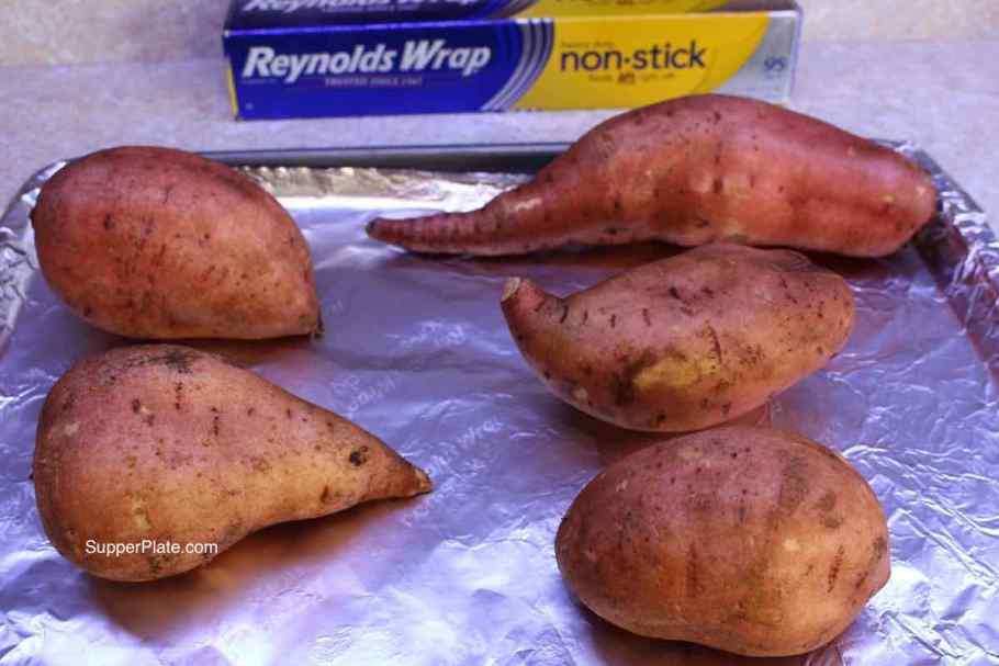 Preparing to roast sweet potatoes