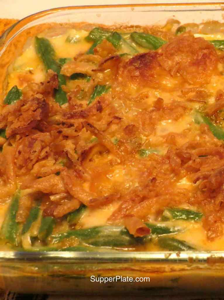 Cheesy green bean casserole closeup