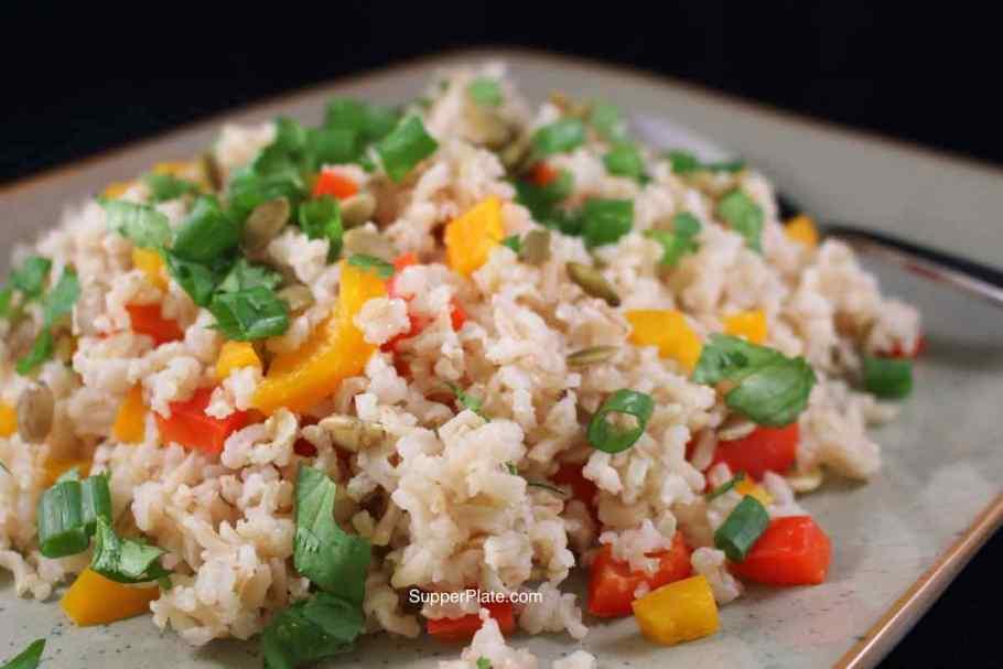 Basmati Vegetable Rice cooking Plated