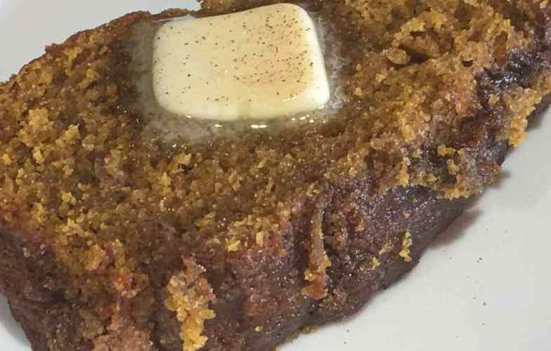 Pumpkin Cinnamon Bread with melted Kerrygold Butter