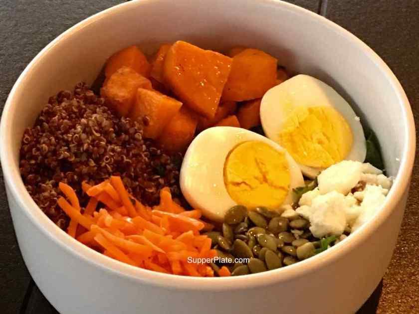Kale Sweet Potato Salad in a white bowl