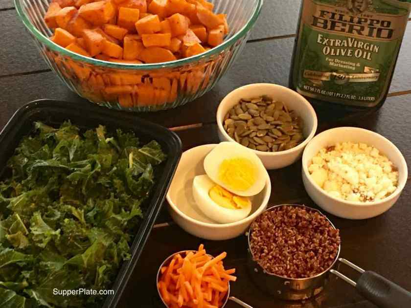 All the Kale Sweet Potatoes Ingredients assembled to make the salad