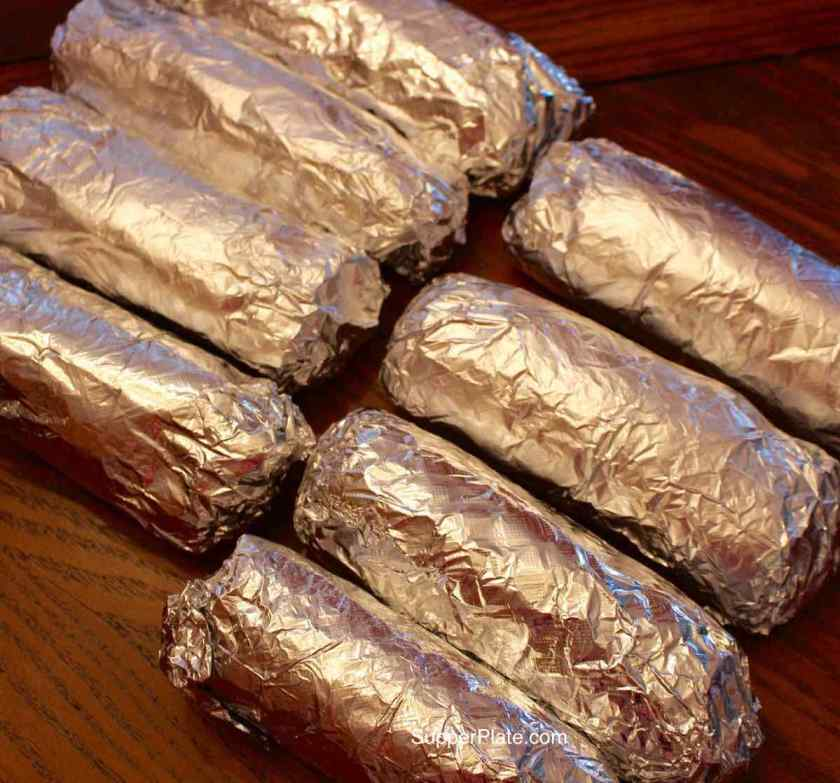 8 burritos rolled in foil