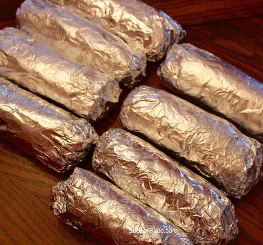 8 burritos rolled in foil