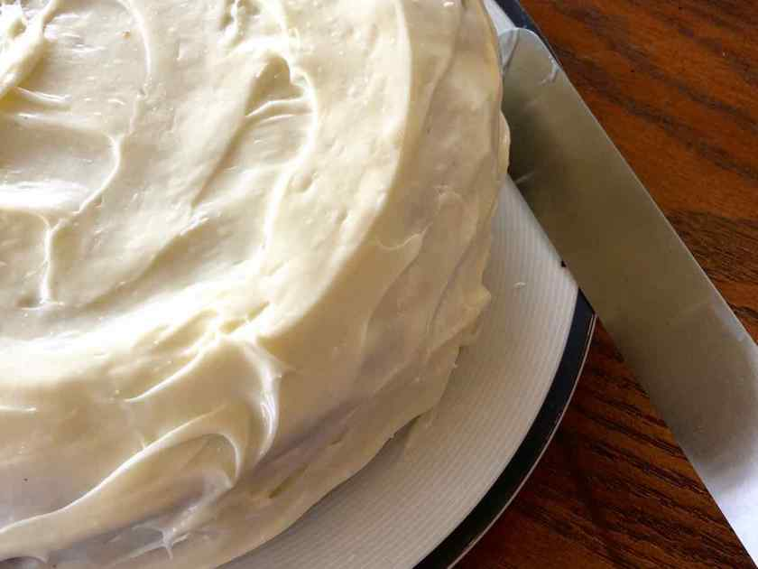 Cleaning up the edges of the Carrot Applesauce Cake
