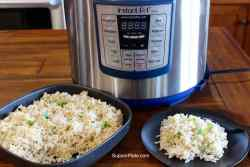 A bowl of rice a plate of rice in front of an Instant pot