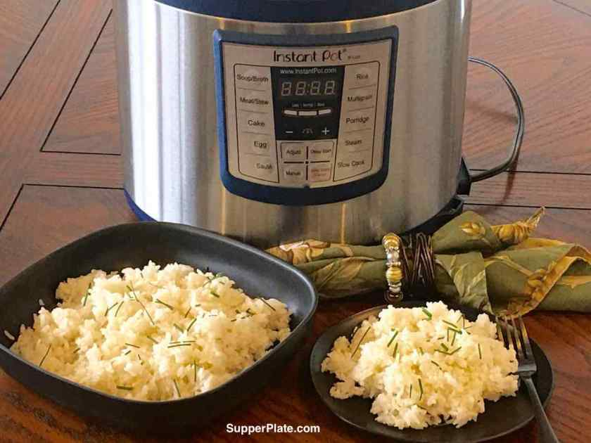 A bowl and plate of rice in front of an Instant Pot