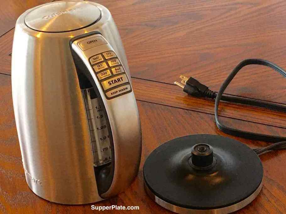 Cuisinart Electric Kettle Review with the kettle off its base with the base to the right of it