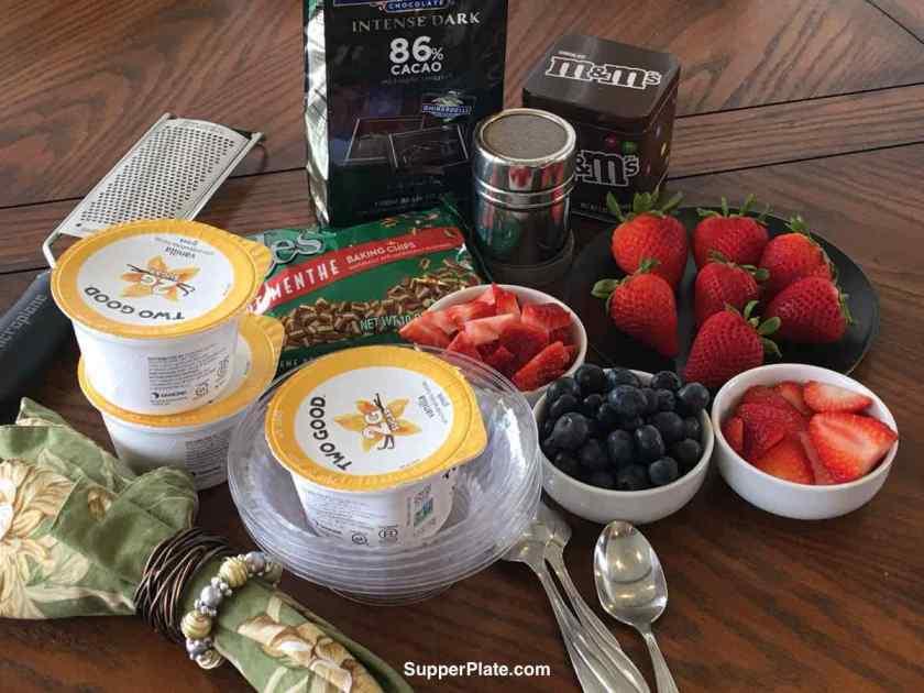 Ingredients for a Greek Yogurt Parfait bar