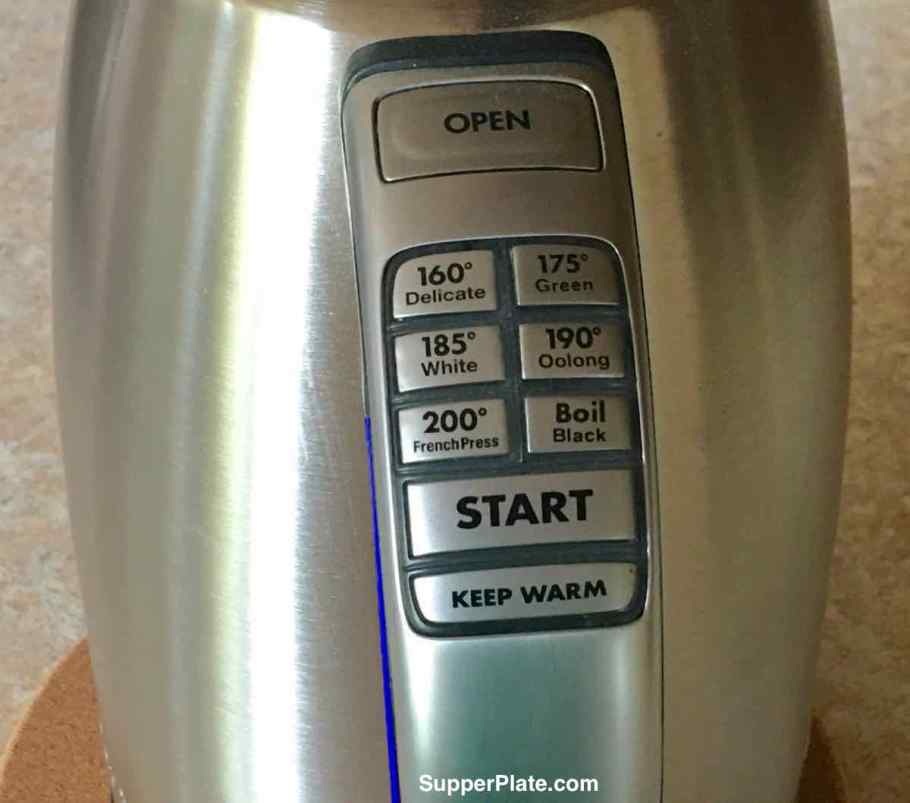 Closeup of the preset tea buttons