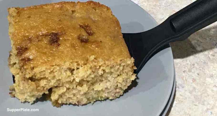 Rhubarb Coffee Cake served on a green plate