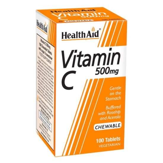 HealthAid Vitamin C 500mg Chewable- 60 Tablets
