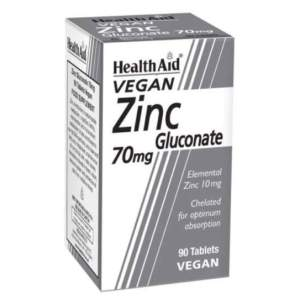 HealthAid Zinc Gluconate 70mg (10mg elemental Zinc) Tablets - 90 Tabs