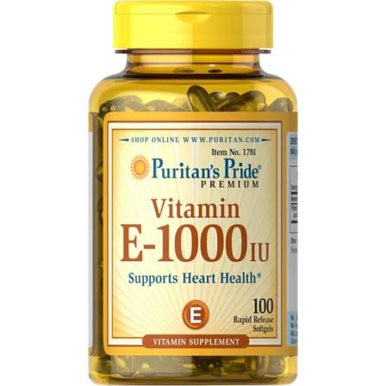 Puritan's Pride Vitamin E 1000 IU, 100 Softgels